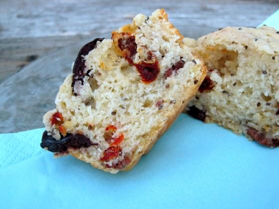 Olive-Chia muffins
